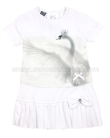 Le Chic Baby Girl Dress with Swan Print White