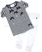 Le Chic Baby Girl T-shirt with Bows and Leggings