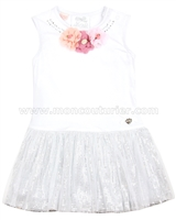 Le Chic Baby Girl Dress with Flowers White