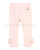 Le Chic Baby Leggings with Organza Flowers Peach