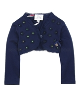 Le Chic Baby Girl Bolero with Flower Applique Navy