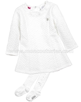 Le Chic Baby Girl Quilted Dress with Tights