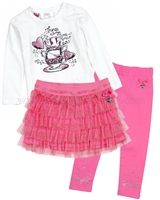Le Chic Baby Girl T-shirt, Sparkly Skirt and Leggings