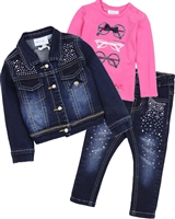 Le Chic Baby Girl T-shirt, Denim Jacket and Pants Set