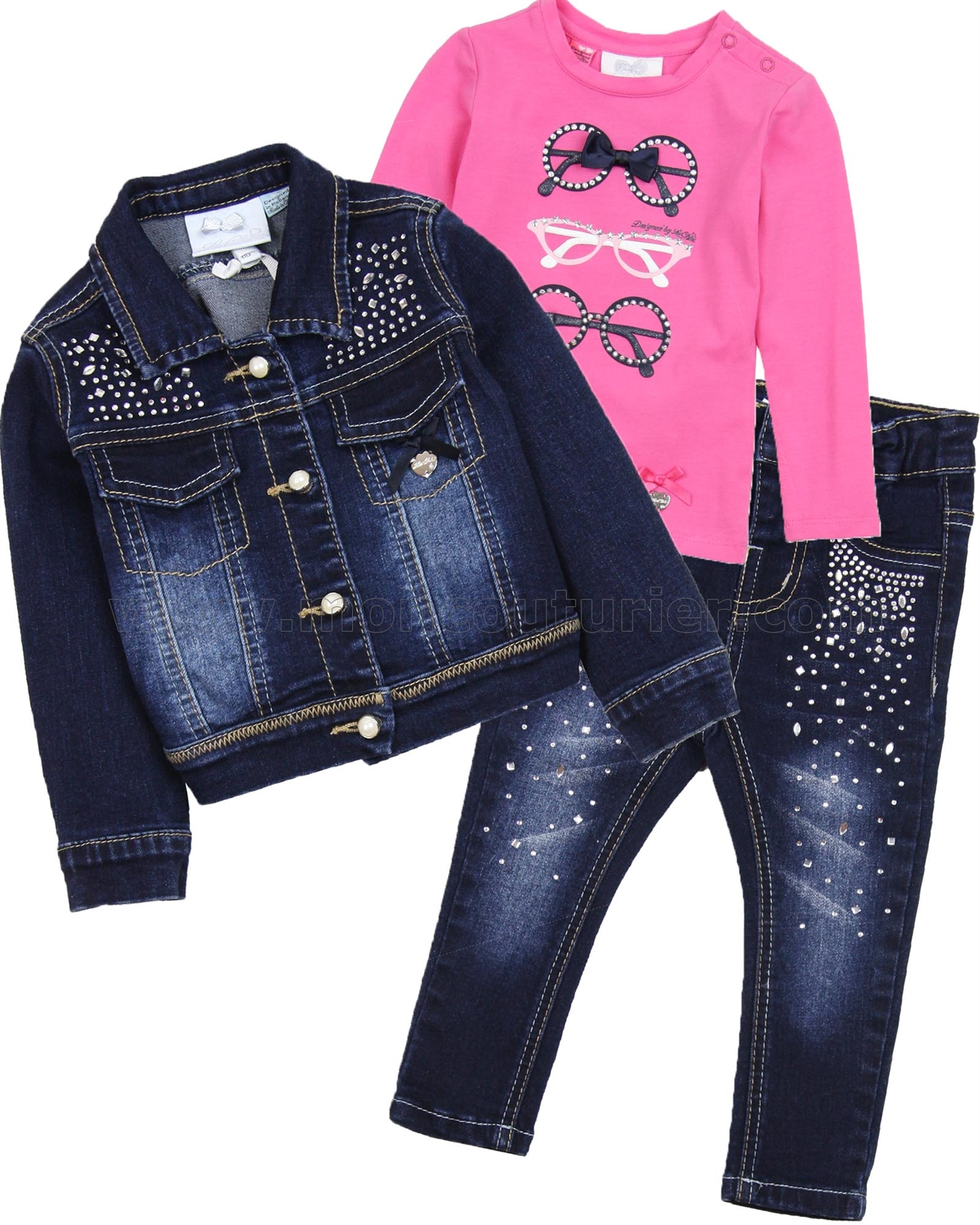 Le Chic Baby T-shirt, Denim Jacket and Pants Set - Le Chic ...