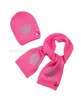 Le Chic Baby Girl Hat and Scarf Hot Pink