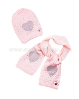 Le Chic Baby Girl Hat and Scarf Peach