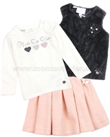 Le Chic Baby Girl Sherpa Vest, T-shirt and Skirt Set