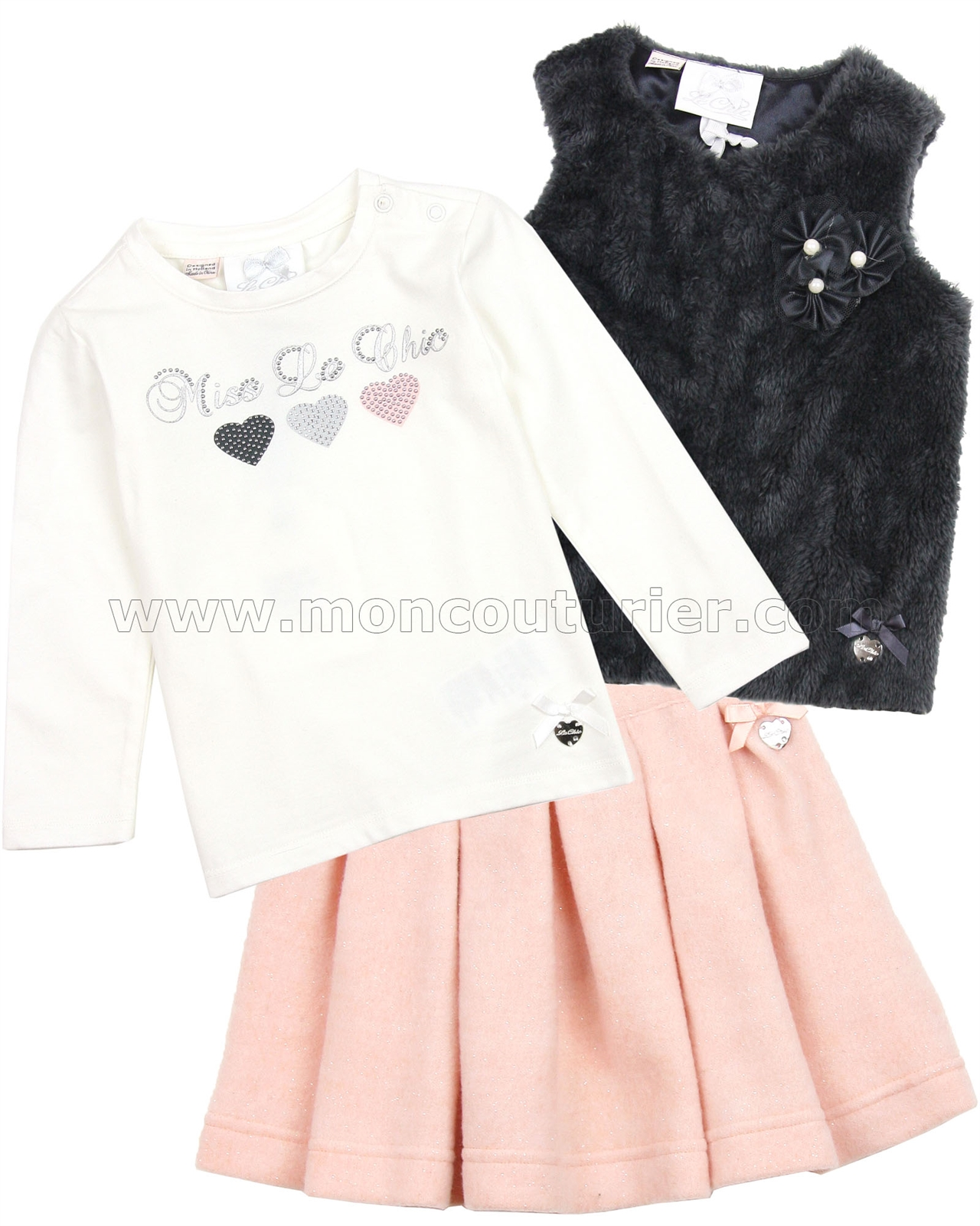 Le Chic Baby Girl Sherpa Vest T shirt and Skirt Set Le Chic Le