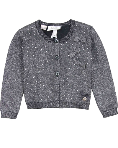 00b29b5c3 LE CHIC Baby Girl's Dark Gray Cardigan with Crystals, Sizes 12-24M