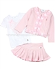 Le Chic Baby Girl Top, Knit Skirt and Cardigan Set