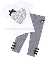 Le Chic Baby Girl T-shirt and Striped Leggings Set