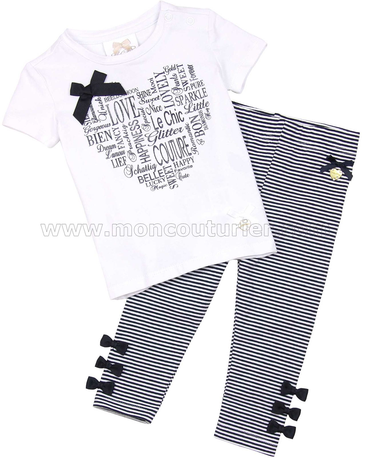Sizes 12M-24M Le Chic Baby Girls Striped Leggings