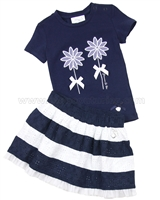 Le Chic Baby Girl T-shirt and Eyelet Skirt Set