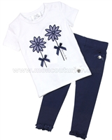 Le Chic Baby Girl Navy T-shirt and Leggings Set
