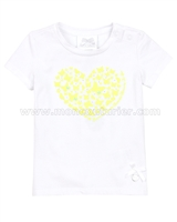 Le Chic Baby Girl T-shirt with Heart Yellow
