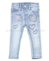 Le Chic Baby Denim Pants with Hearts