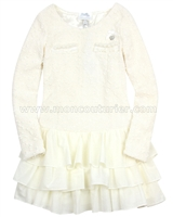 Le Chic Boucle Dress with Ruffled Bottom Ivory