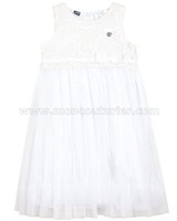 Le Chic Tulle Dress with Guipure Top White