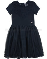 Le Chic Embroidered Tulle Dress Navy