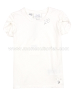 Le Chic T-shirt Gathered Sleeves Ivory