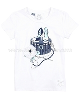 Le Chic Embellished T-shirt with Shoe Print