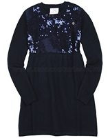Le Chic Knit Dress with Sequin Front Navy