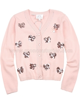Le Chic Peach Cardigan with Sequin Bows