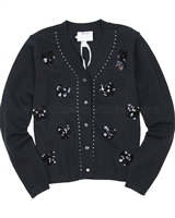Le Chic Dark Gray Cardigan with Sequin Bows