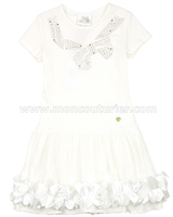 Le Chic Girls' Ivory Jersey Dress with Rosettes