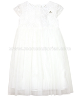 Le Chic Girls' Ivory Tulle Dress with Embroidery