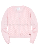 Le Chic Girls' Pink Square Knit Cardigan