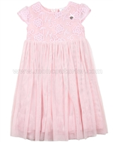 Le Chic Girls' Pink Tulle Dress with Embroidery