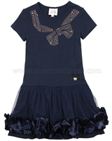 Le Chic Girls' Navy Jersey Dress with Rosettes