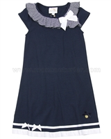 Le Chic Girls' Navy Jersey Dress