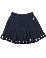 Le Chic Girls' Navy Pleated Skirt