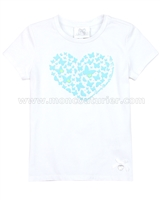 Le Chic Girls' T-shirt with Heart Blue