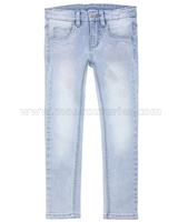 Le Chic Girls' Skinny Denim Pants with Crystal Hearts