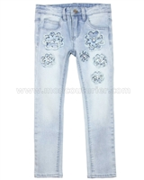 Le Chic Girls' Skinny Denim Pants with Flowers