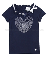 Le Chic Girls' T-shirt with Embroidered Heart