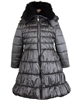Le Chic Long Quilted Coat with Fur Collar Gray