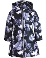 Le Chic Puffer Coat in Floral Print Black
