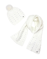 Le Chic Hat and Scarf White