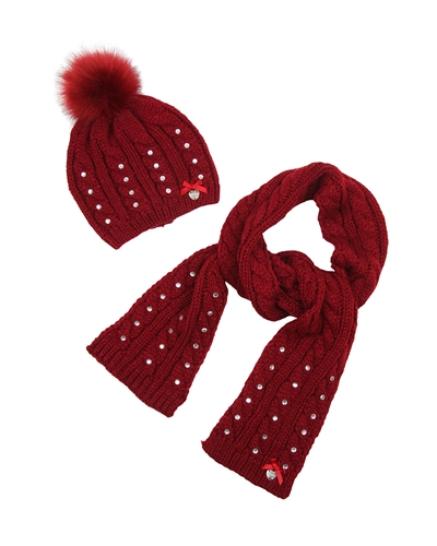 Le Chic Hat and Scarf Red