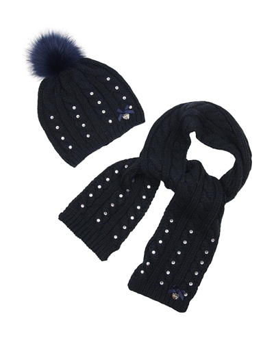 Le Chic Hat and Scarf Navy