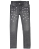 Le Chic Skinny Denim Pants with Crystal Flowers