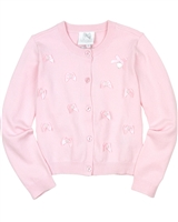Le Chic Knit Cardigan with Satin Bows Pink