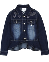 Le Chic Denim Jacket with Crystal Hearts