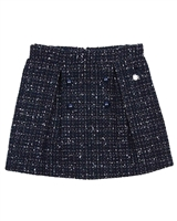Le Chic Tweed Skirt with Buttons Navy