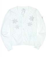 Le Chic Girls' Cardigan with Rhinestones in White